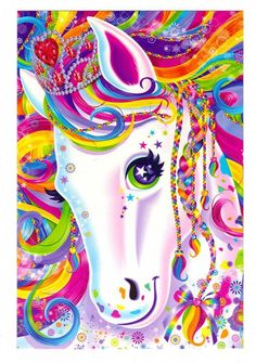 Lisa Frank Majesty the Rainbow Horse Postcard via Etsy