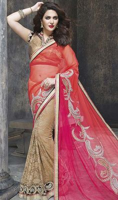 Authentic splendor will come out of your dressing style with this crimson, scarlet and beige color net half n half sari. The interesting lace and resham work in the course of the attire is awe-inspiring. Upon request we can make round front/back neck and short 6 inches sleeves regular saree blouse also. #trendsetter #nethalfnhalfsari