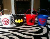 Superhero Party Favors- Batman, Spiderman, Superman, Supergirl, Wonderwoman. $6.50, via Etsy.
