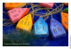 Веселые домики (набор №4) - ватное папье-маше,ватная игрушка,ёлочные игрушки