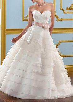 GLAMOROUS ORGANZA SATIN A-LINE SWEETHEART NECKLINE WEDDING DRESS WITH HANDMADE FLOWER LACE BRIDESMAID