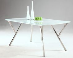 Jade Modern White Glass Stainless Steel Dining Table