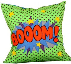Comic Book Pop Art Style BOOM! Cushion from Peppermint Fizz | Made By Peppermint Fizz | £50.00 | BOUF