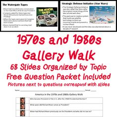 United States History America in the and Gallery Walk PowerPoint History Teachers, History Class, Us History, Michael Christmas, Great Society, Womens Liberation, Teacher Notes, Teacher Resources, Social Studies