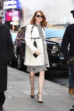 Emma Stone - Good Morning America - Michael Kors dress / Moncler coat