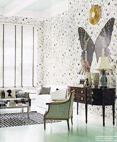 butterfly wallpaper & art - sillouhette cushion - green armchair