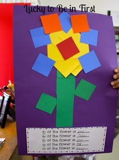 Fraction Flowers FREEBIE! Help your students practice fractions with art!