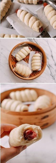 Chinese Sausage Buns (Lop Cheung Bao) are a tasty throwback treat. These buns are made with sweet cured Chinese sausage wrapped in a fluffy steamed mantou Bamboo Steamer Recipes, Chinese Sausage, Wok Of Life, Hot Dogs, Chicken Spring Rolls, Steamed Buns, Steamed Dumplings, Best Breakfast, Chinese Breakfast