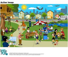 Describe the scene and actions in this ELL/ESL action image using complete sentences, or practice tenses, give descriptions, or write a narrative. Action Pictures, Action Images, Park Pictures, Kids English, English Lessons, Learn English, English Grammar, Teaching English, Esl