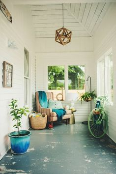A Charming Covered Porch on a Budget. Used only vintage and used finds to make this look!