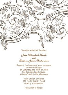Vintage Flourishes Wedding Invitation Template