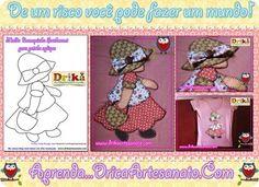 Patchwork moldes Bonequinha Sunbonnet Sue para em patch aplique - Drika Artesanato - O seu Blog de Artesanato.