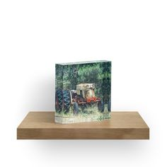 """Case Tractor Yard Art"" acrylic block art print by DK Digital.  Check out this slick little decoration, put it on a shelf or on your desk, it's sure to start a conversation.  Check out the ""face"" on that abandoned farm tractor!"
