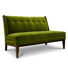 amazingly tailored settee from Jonathan Adler in velvet pickle