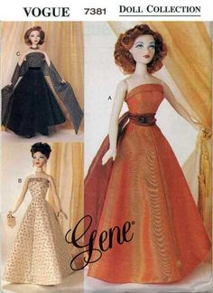 Vogue Doll Collection Sewing Pattern 7381 Gene Couturier Dresses pdf e pattern. $7.00, via Etsy.
