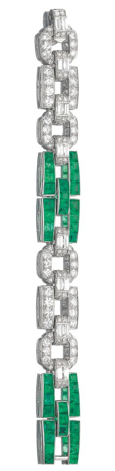 //EMERALD AND DIAMOND BRACELET, CARTIER, 1930s.  Designed as a series of geometric links set with calibré cut emeralds, baguette, single- and circular-cut diamonds, length approximately 170mm, signed Cartier, accompanied by fitted case.