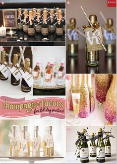 Champagne Favor Ideas with Striped Straws and Dainty Ribbons, Glittered bottles, and Thank-you tags!