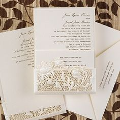 Exquisite Floral Window invitation from the Simple but Elegant collection by Carlson Craft. The shimmering vintage lace inspired die cut pocket holds delicately designed matching shimmer inserts. See more at www.frostedpink.carlsoncraft.com