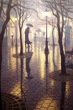 rainy night romance   by  Denis Nolet Canadian painter