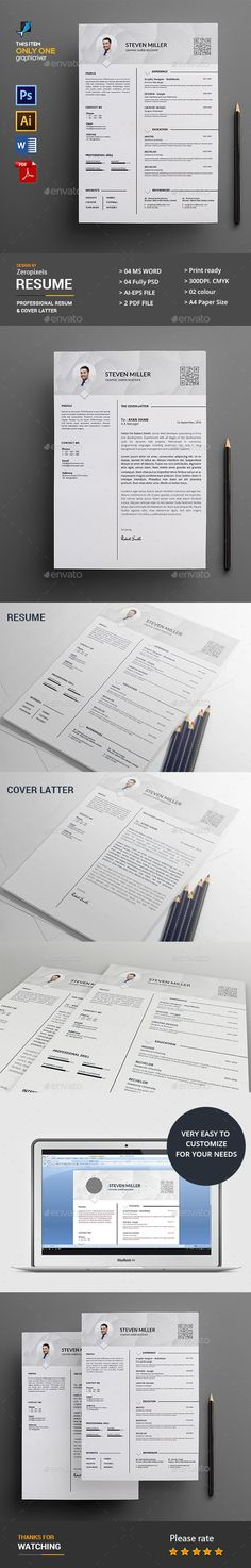 Simple Resume u2014 Photoshop PSD #resume #letter u2022 Available here - resumes by design