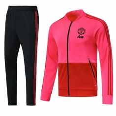 Man United 2018-19 Top Pink Training Jacket Kit  M609  0719a580f