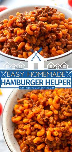 Easy One Pot Meals, Quick Weeknight Meals, Best Comfort Food, Comfort Foods, Homemade Hamburger Helper, Healthy Dinner Recipes, Yummy Recipes, 30 Minute Meals, Pasta Recipes