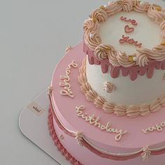 Pretty Birthday Cakes, Pretty Cakes, Beautiful Cakes, Amazing Cakes, Simple Cake Designs, Pastel Cakes, Pink Foods, Birthday Cake Decorating, Cute Desserts