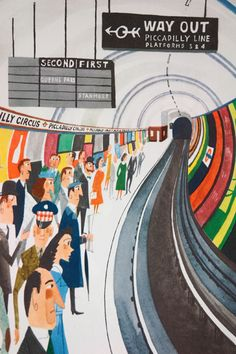"illustration of London Underground tube platform from vintage ""This is London"" book by Miroslav Sasek"