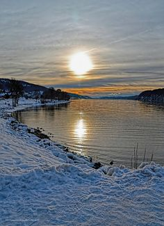 Winter Sunset over the Lac de Joux, Jura, Switzerland