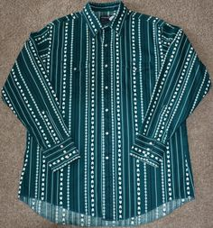 Wrangler Men's Size XL Vintage Western Rockabilly Shirt with Snap Buttons