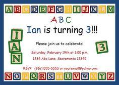 ABC Alphabet Baby Blocks Custom Personalized Birthday Party invitations. $14.99, via Etsy.