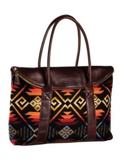 Pendleton Leather Tote Bag Feather Storm Black, One Size Pendleton Bag, Ethnic Bag, Leather Purses, Leather Totes, Leather Bags, Leather Backpacks, Brown Leather, Tote Handbags, Clutch Bags