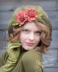 Olive green Wide Brim Floppy Cloche Hat by Jaya-Lee Designs.   peasant style Hat