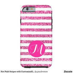 Hot Pink Stripes with Customizable Monogram Tough iPhone 6 Case