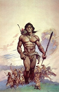 6/19/14 12:33a   Primal Huge Warrior in Leopard Loincloth   The Hunt Art by Frank Frazetta