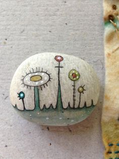 """Rock Being - """"come sail away"""" - India ink markers on NH beach stone"""