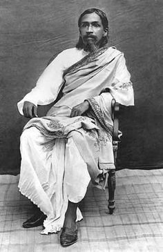 """sri aurobindo in pondicherry around 1917 """"The most vital issue of the age is whether the future progress of humanity is to be governed by the modern economic and materialistic mind of the West or by a nobler pragmatism guided, uplifted and enlightened by spiritual culture and knowledge...."""" Sri Aurobindo"""