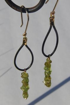 Peridot and Leather Dangle Earrings by StoneJewelsByAng on Etsy