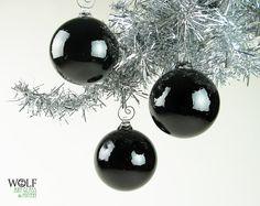 Blown Glass Ball Ornament Suncatcher Halloween by wolfartglass, $22.00