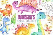 Dinosaurs. Watercolor collection. - Illustrations - 1