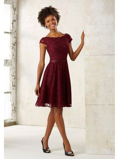 A-Line Short Cap Sleeves Wine Red Lace Bridesmaid Dresses 5602013