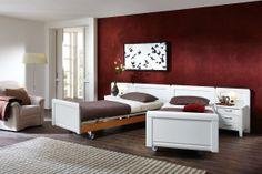 Schlafzimmer SAPHIR in Weiß Matt: Variokompaktbett mit Rolen: ca. 180 x 200 cm, Nachtschrank: ca. 52 x 52 x 40 cm, mit 3 Schubkästen