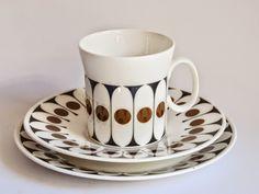 "1970s ""Black Velvet""  design by John Russell for Hostess (Royal Stafford China), Staffordshire | Retro Pottery"