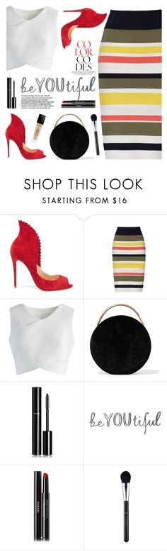 """Color Codes"" by tamara-p ❤ liked on Polyvore featuring Christian Louboutin, Bailey 44, Chicwish, Eddie Borgo and Chanel"