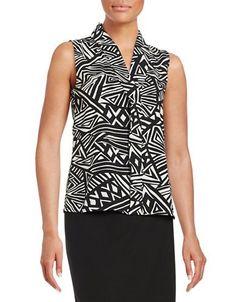Calvin Klein Geometric V-Neck Blouse Women's Black/Cream Large