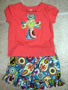 Paisley Ruffle Shorts with Cross Shirt by TutuCuteMongrams on Etsy, $35.00