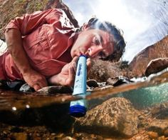 LifeStraw Emergency Water Filter.  Filters something like 250 gallons of water, and filters everything but heavy metals and viruses out of the water.