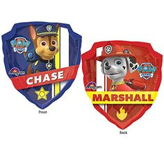 """27"""" Nickelodeon Paw Patrol Chase Marshall Double Sided Mylar Foil Balloon"""