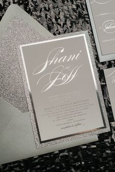 Foil All Silver Glitter Wedding Invitations by JustInviteMe Silver Wedding Invitations, Wedding Invitation Samples, Letterpress Wedding Invitations, Invitation Design, Wedding Stationery, Wedding Cards, Glitter Invitations, Luxury Wedding, Our Wedding