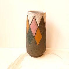 Mid Century Modern Ceramic Vase Pink Orange Cream Brown